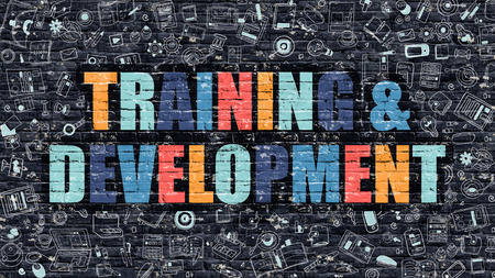 permanent: Training and Development Concept. Training and Development Drawn on Dark Wall. Training and Development in Multicolor. Training and Development Concept in Modern Doodle Style. Stock Photo