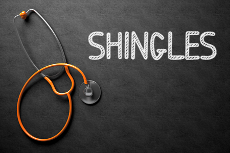 Medical Concept: Black Chalkboard with Shingles. Medical Concept: Shingles on Black Chalkboard. 3D Rendering. Stock Photo - 64981754