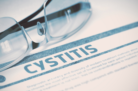 pyelonephritis: Cystitis - Medical Concept on Blue Background with Blurred Text and Composition of Glasses. Cystitis - Medicine Concept with Blurred Text and Glasses on Blue Background. Selective Focus. 3D Rendering.