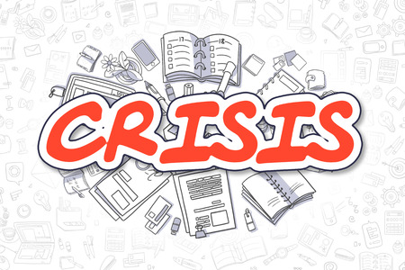 Cartoon Illustration of Crisis, Surrounded by Stationery. Business Concept for Web Banners, Printed Materials.