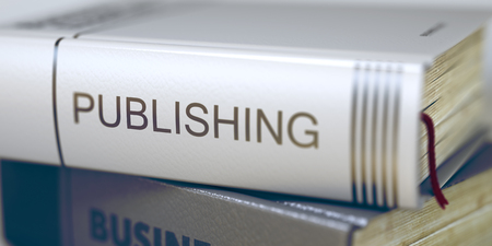 Book Title on the Spine - Publishing. Closeup View. Stack of Books. Business Concept: Closed Book with Title Publishing in Stack, Closeup View. Business - Book Title. Publishing. Toned Image. 3D. Stock Photo