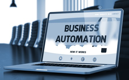 Business Automation on Landing Page of Mobile Computer Display. Closeup View. Modern Conference Room Background. Toned Image. Blurred Background. 3D Rendering.