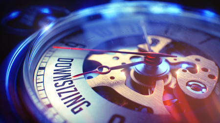 Vintage Pocket Clock Face with Downsizing Wording, Close Up View of Watch Mechanism. Business Concept. Light Leaks Effect. 3D.