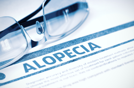 critical care: Diagnosis - Alopecia. Medical Concept with Blurred Text and Spectacles on Blue Background. Selective Focus. 3D Rendering. Stock Photo