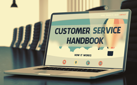 exploit: Laptop Display with Customer Service Handbook Concept on Landing Page. Closeup View. Modern Conference Room Background. Toned. Blurred Image. 3D Render.
