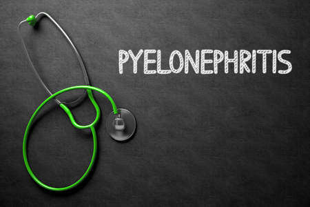 pyelonephritis: Medical Concept: Pyelonephritis Handwritten on Black Chalkboard. Top View of Green Stethoscope on Chalkboard. Medical Concept: Black Chalkboard with Pyelonephritis. 3D Rendering. Stock Photo