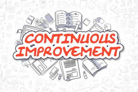 growth enhancement: Continuous Improvement Doodle Illustration of Red Word and Stationery Surrounded by Doodle Icons. Business Concept for Web Banners and Printed Materials. Stock Photo