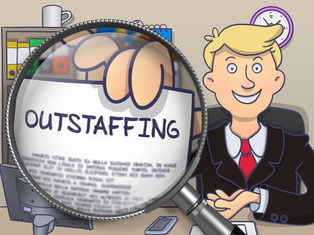 minimization: Outstaffing on Paper in Businessmans Hand to Illustrate a Business Concept. Closeup View through Lens. Colored Modern Line Illustration in Doodle Style.