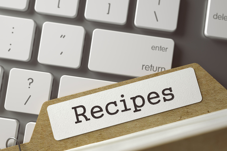 prescript: Recipes. Card Index Overlies Modern Laptop Keyboard. Archive Concept. Closeup View. Toned Blurred  Illustration. 3D Rendering. Stock Photo