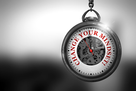 Change Your Mindset Close Up of Red Text on the Pocket Watch Face. Business Concept: Change Your Mindset on Vintage Watch Face with Close View of Watch Mechanism. Vintage Effect. 3D Rendering.