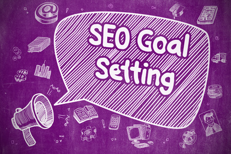 goal setting: SEO Goal Setting on Speech Bubble. Hand Drawn Illustration of Shrieking Loudspeaker. Advertising Concept. Stock Photo