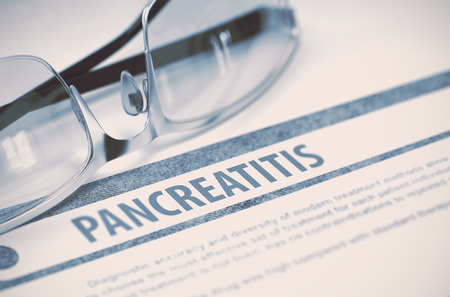 pancreatitis: Diagnosis - Pancreatitis. Medical Concept on Blue Background with Blurred Text and Glasses. Selective Focus. 3D Rendering.