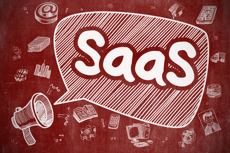 Saas Fee: Shouting Loudspeaker with Phrase SaaS - Software As A Service on Speech Bubble. Doodle Illustration. Business Concept.