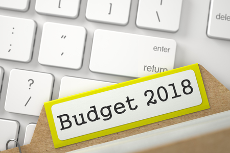 marginal returns: Yellow Sort Index Card with Budget 2018 Overlies Modern Laptop Keyboard. Closeup View. Blurred Illustration. 3D Rendering.