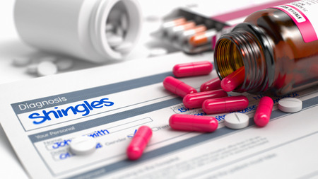 itching: Shingles - Handwritten Diagnosis in the Extract From the History of Disease. Medicine Concept with Red Pills, CloseUp View, Selective Focus. 3D Illustration.