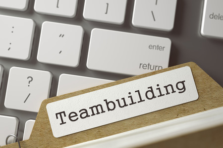 teambuilding: Teambuilding written on  Sort Index Card Lays on White Modern Keypad. Business Concept. Closeup View. Blurred Toned Image. 3D Rendering.