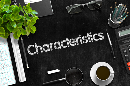 specificity: Characteristics on Black Chalkboard. Black Chalkboard with Characteristics. 3d Rendering. Stock Photo
