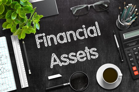 financial assets: Top View of Office Desk with Stationery and Black Chalkboard with Business Concept - Financial Assets. 3d Rendering. Toned Illustration. Stock Photo