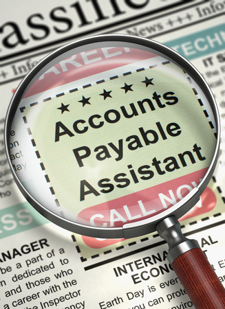 payable: Newspaper with Jobs Section Vacancy Accounts Payable Assistant. Accounts Payable Assistant. Newspaper with the Classified Advertisement of Hiring. Job Search Concept. Blurred Image. 3D Render.