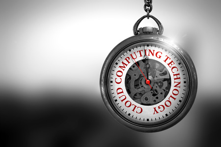 Vintage Pocket Watch with Cloud Computing Technology Text on the Face. Business Concept: Vintage Watch with Cloud Computing Technology - Red Text on it Face. 3D Rendering. Stock Photo