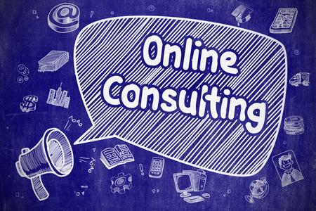 shrieking: Shrieking Loudspeaker with Inscription Online Consulting on Speech Bubble. Hand Drawn Illustration. Business Concept.