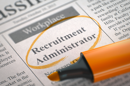 sourcing: Recruitment Administrator - Classified Advertisement of Hiring in Newspaper, Circled with a Orange Highlighter. Blurred Image with Selective focus. Concept of Recruitment. 3D. Stock Photo