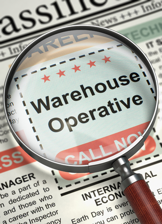 operative: Newspaper with Small Advertising Warehouse Operative. Column in the Newspaper with the Jobs Section Vacancy of Warehouse Operative. Concept of Recruitment. Blurred Image. 3D Render. Stock Photo