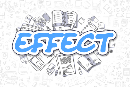 attainment: Business Illustration of Effect. Doodle Blue Word Hand Drawn Doodle Design Elements. Effect Concept.