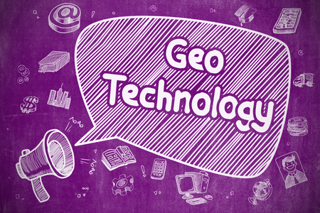 ip address: Business Concept. Mouthpiece with Wording Geo Technology. Doodle Illustration on Purple Chalkboard. Geo Technology on Speech Bubble. Doodle Illustration of Yelling Horn Speaker. Advertising Concept.