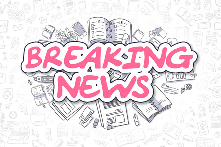 urgent announcement: Doodle Illustration of Breaking News, Surrounded by Stationery. Business Concept for Web Banners, Printed Materials. Stock Photo