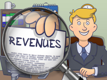 offiice: Revenues. Cheerful Businessman Sitting in Offiice and Holds Out a Paper with Inscription through Lens. Colored Doodle Style Illustration. Stock Photo