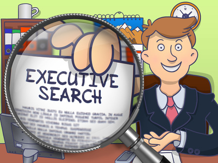 executive search: Business Man in Office Showing a Paper with Inscription Executive Search. Closeup View through Magnifying Glass. Multicolor Modern Line Illustration in Doodle Style. Stock Photo