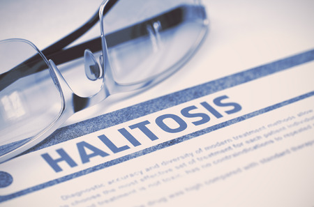 physiologic: Diagnosis - Halitosis. Medical Concept with Blurred Text and Specs on Blue Background. Selective Focus. 3D Rendering.