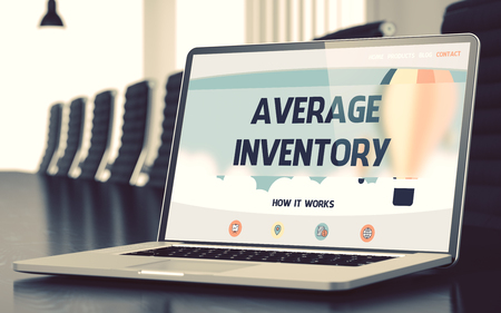 discounting: Average Inventory on Landing Page of Mobile Computer Display. Closeup View. Modern Conference Room Background. Blurred. Toned Image. 3D Render.