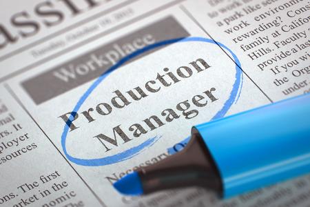Production Manager - Advertenties en Classifieds advertenties leegstand in Krant, omcirkeld met een blauwe markeerstift. Wazig beeld met selectieve aandacht. Concept van Recruitment. 3D-rendering.