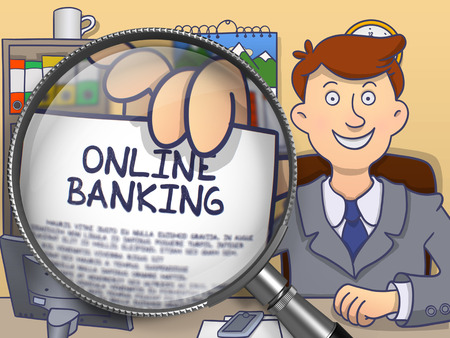 sms payment: Business Man Showing Paper with Concept Online Banking. Closeup View through Magnifier. Colored Modern Line Illustration in Doodle Style. Stock Photo