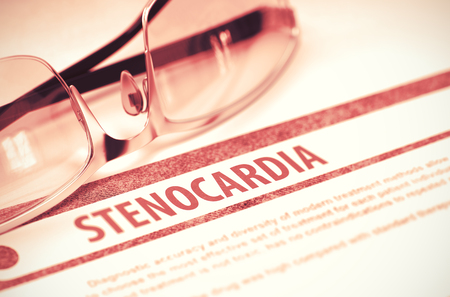 insufficient: Stenocardia - Medical Concept on Red Background with Blurred Text and Composition of Eyeglasses. 3D Rendering.
