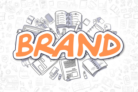 Brand Doodle Illustration of Orange Inscription and Stationery Surrounded by Cartoon Icons. Business Concept for Web Banners and Printed Materials. Foto de archivo
