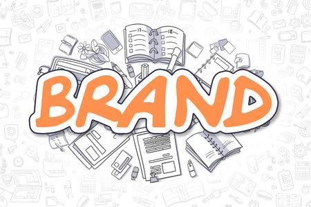 Doodle Marca Ilustración de naranja inscripción y efectos de escritorio, rodeado de iconos de dibujos animados. Concepto de negocio de Web pancartas y materiales impresos.