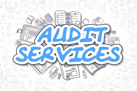Services de vérification - Illustration Croquis d'affaires. Bleu Hand Drawn Text Services de vérification Entouré de papeterie. Doodle Design Elements.