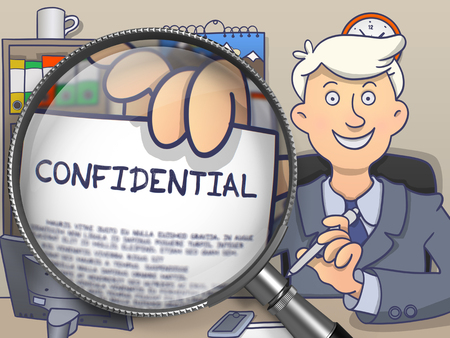 undercover: Business Man Welcomes in Office and Showing a Concept on Paper Confidential. Closeup View through Magnifier. Colored Doodle Illustration. Stock Photo