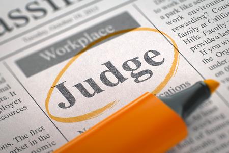 arbitros: Juez. Periódico con la vacante, en un círculo con un marcador naranja. Imagen borrosa con enfoque selectivo. Concepto de búsqueda de trabajo. Representación 3D.