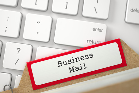 despatch: Business Mail written on Red Folder Index on Background of Modern Keyboard. Closeup View. Selective Focus. 3D Rendering. Stock Photo