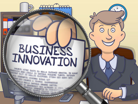 growth enhancement: Business Innovation. Officeman Welcomes in Office and Holding a through Magnifier Concept on Paper. Multicolor Doodle Style Illustration.
