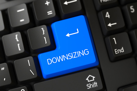downsizing: Downsizing Written on a Large Blue Key of a Black Keyboard. 3D Render. Stock Photo