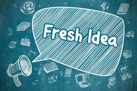 fresh idea: Business Concept. Bullhorn with Wording Fresh Idea. Doodle Illustration on Blue Chalkboard. Shouting Megaphone with Phrase Fresh Idea on Speech Bubble. Cartoon Illustration. Business Concept. Stock Photo