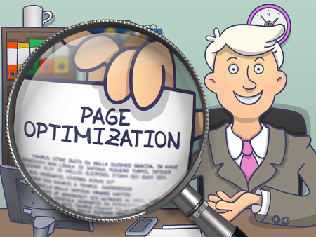 page rank: Page Optimization. Young Business Man Welcomes in Office and Showing Paper with Concept through Lens. Multicolor Doodle Style Illustration.