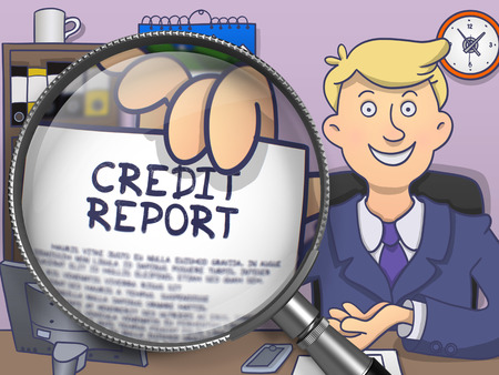 credit report: Credit Report on Paper in Mans Hand through Lens to Illustrate a Business Concept. Multicolor Doodle Style Illustration.