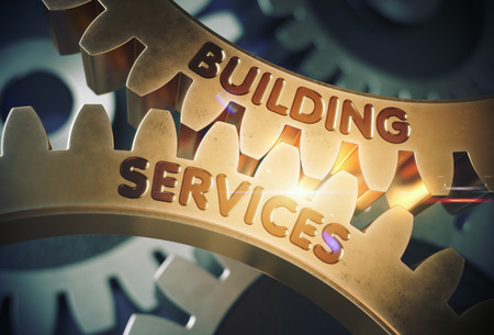 architectural firm: Building Serviceson the Golden Cogwheels. Building Services - Illustration with Lens Flare. 3D Rendering.