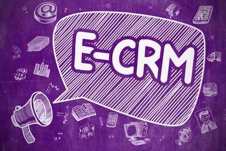 E-CRM - Customer Relationship Management électronique sur Speech Bubble. Cartoon Illustration Crier Megaphone. Publicité Concept.